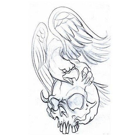 Mexican eagle protecting his skull tattoo design