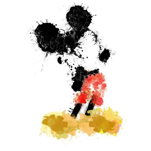 Mickey Mouse silhouette with waterolor effect tattoo design