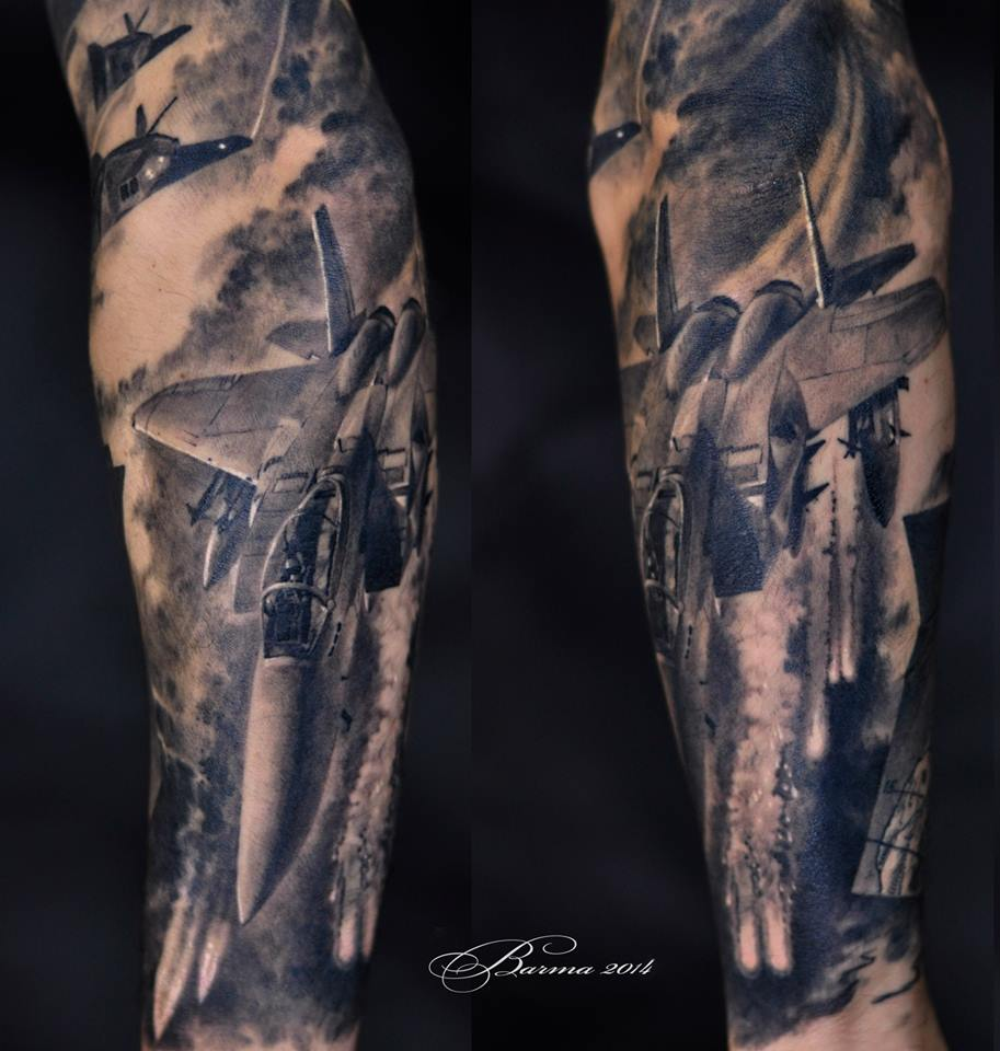 Military airforce tattoo on arm