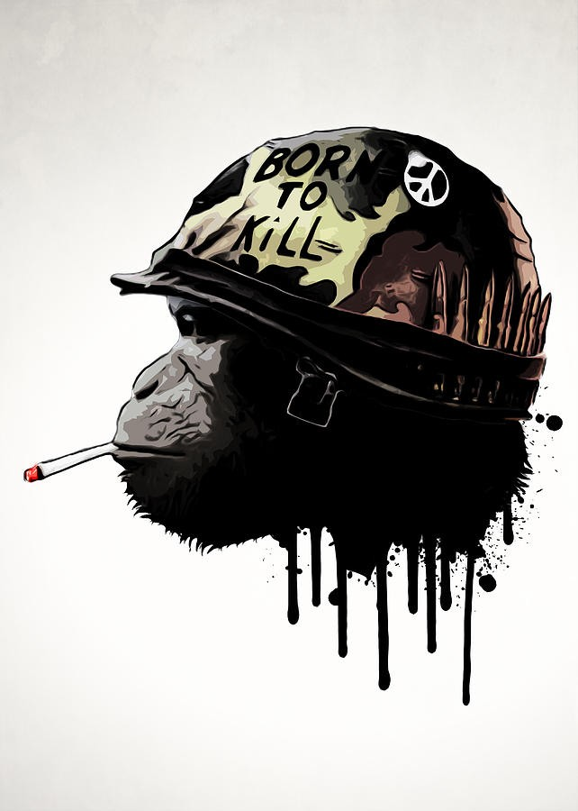 Military smoking chimpanzee with smudged neck tattoo design by Nicklas Gustafsson
