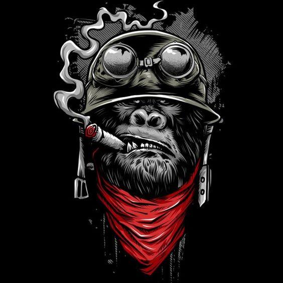 Military smoking gorilla in helmet with red bandana tattoo design