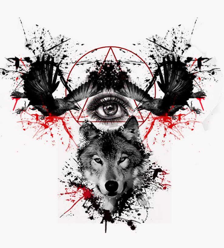 Trash Polka Skull By Mcrdesign On Deviantart: Mixed Realistic Wolf Head With Illuminati Design In Polka