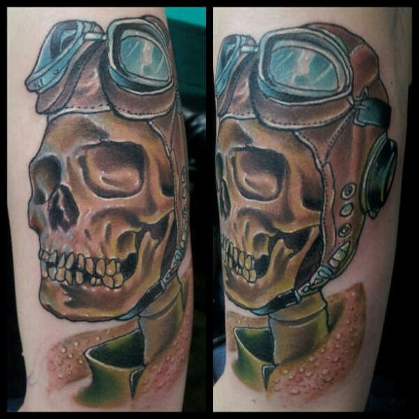 Modern traditional style colored tattoo of pilot skeleton