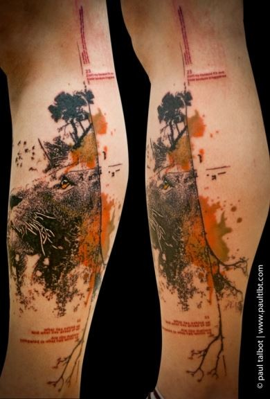 Modern trash polka style colored leg tattoo of lion face with lettering
