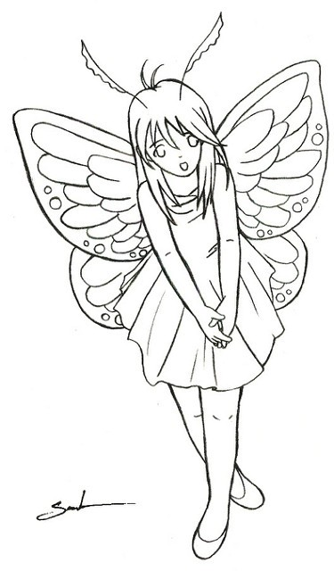 Modest cartoon uncolored fairy with open mouth tattoo design