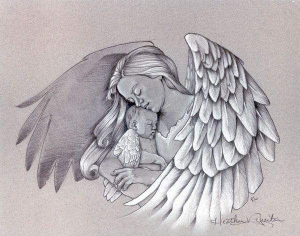 Mom angel keeping het little baby tattoo design