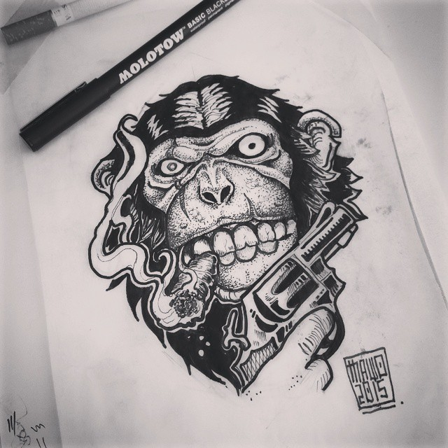 Monkey gangster with a gun smoking a sigarette tattoo design