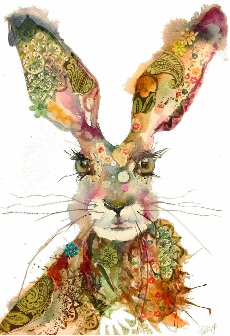 Montly watercolor flower-printed hare portrait tattoo design