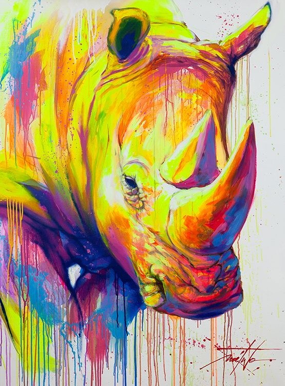 Montly watercolor rhino portrait tattoo design
