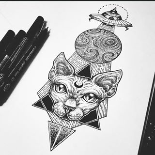 Moon-signed cat muzzle on dotwork triangles and UFO background tattoo design
