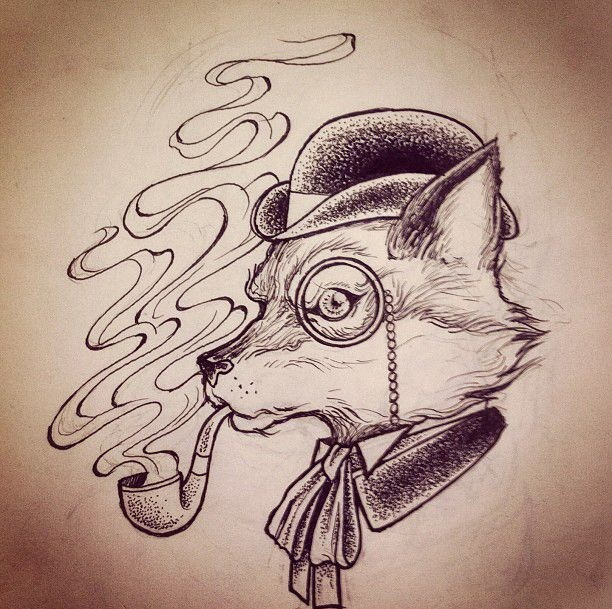 Mr Fox in monocle smoking a pipe tattoo design