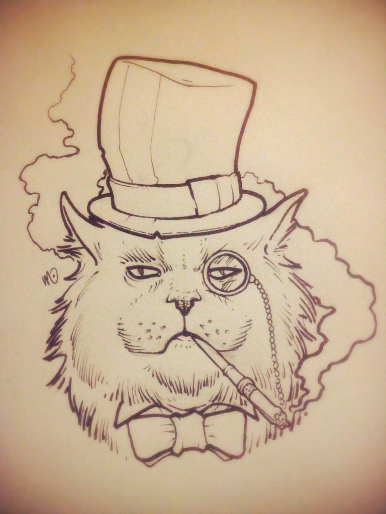 Mr cat in hat with monocle tattoo design by Taylor Weaved