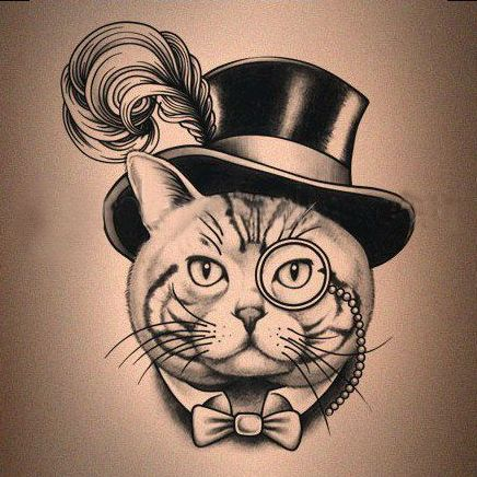 Mr cat in luxury hat with monocle and tie-bow tattoo design