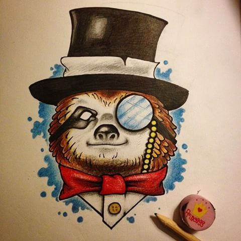 Mr sloth in hat with monocle and red bow-tie tattoo design