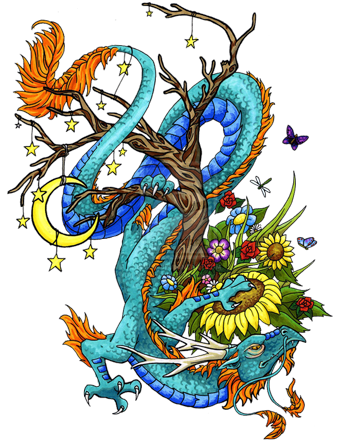 multicolor asian dragon with flowers and moon tattoo design. Black Bedroom Furniture Sets. Home Design Ideas