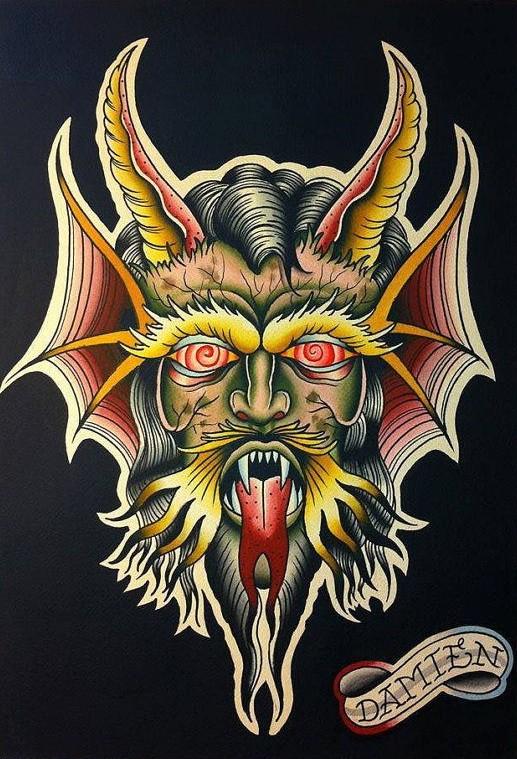 Multicolor devil face with vortex eyes tattoo design