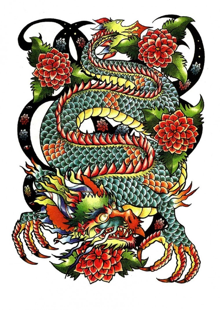 Multicolor japanese dragon woth peony flower buds tattoo design
