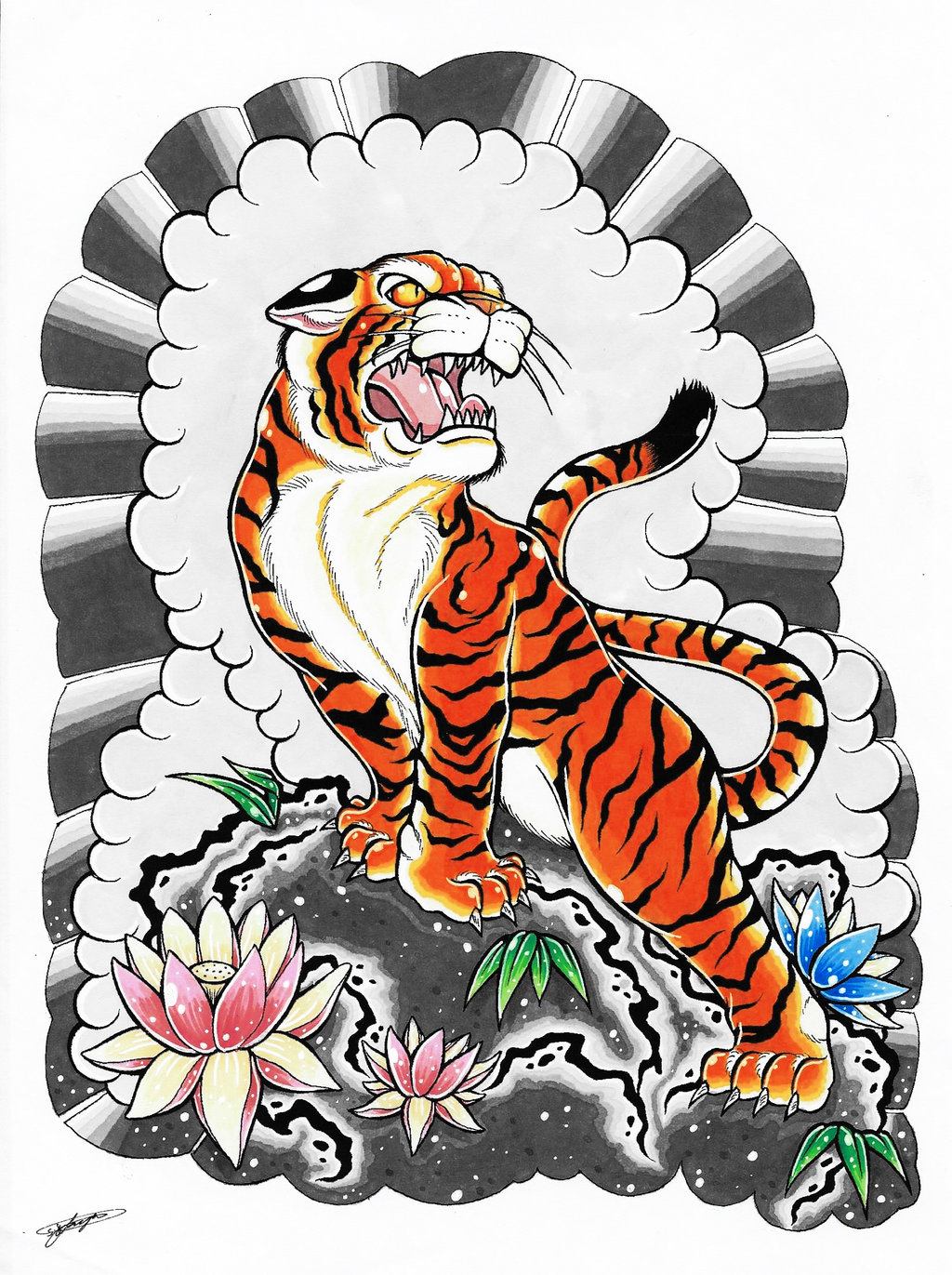 Multicolor japanese tiger standing on ground with lotus ...