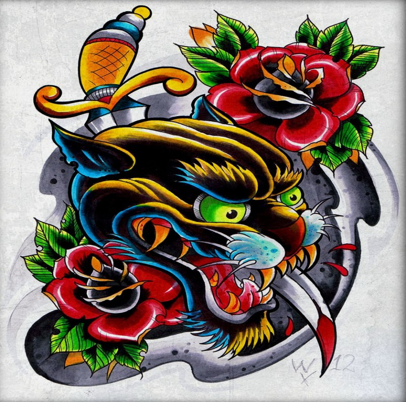 Multicolor new school panther with gold-handle dagger and roses tattoo design