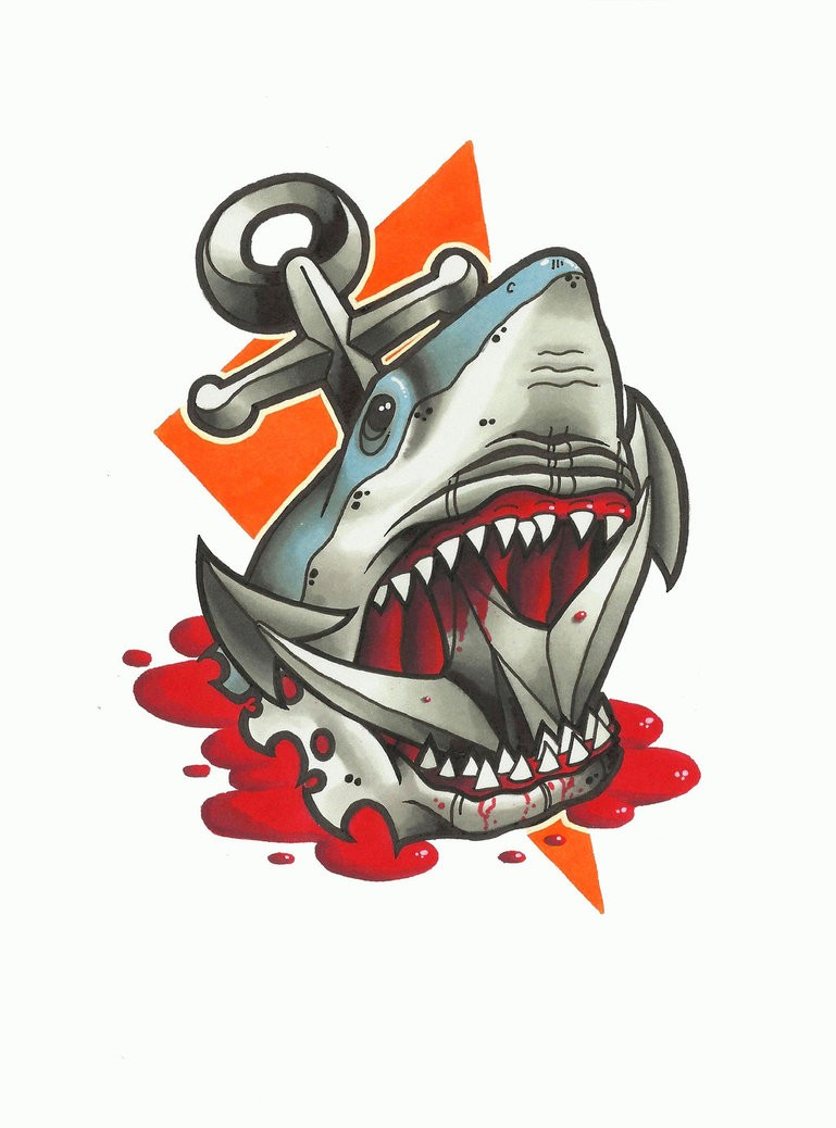 Multicolor New School Shark Tattoo Design Killed With Anchor Tattoo