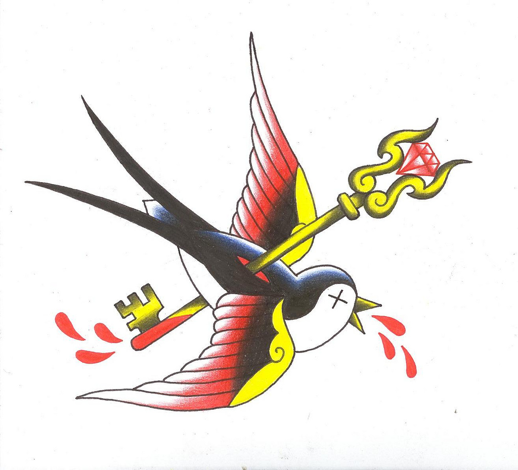 Multicolor old school bird killed with a key tattoo design