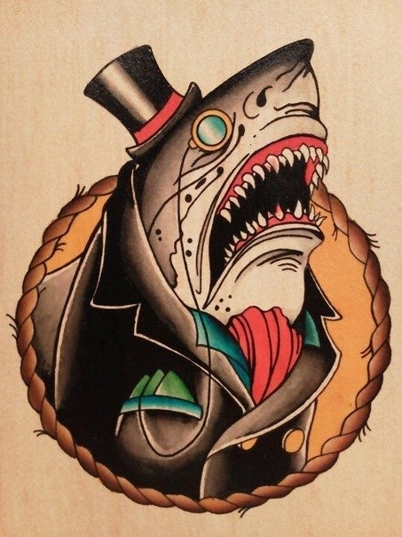 Multicolor old school sir shark in suit and monocle tattoo design