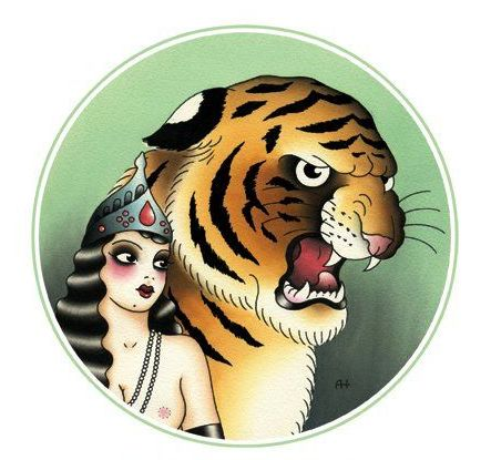 Multicolor old school tiger and military girl tattoo design