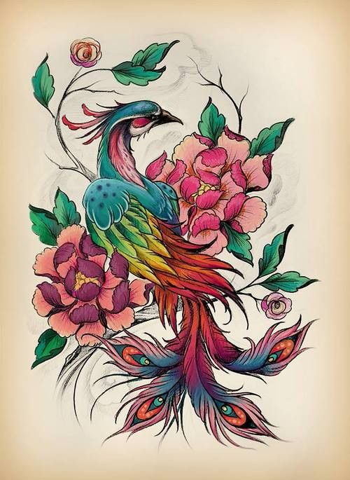 Multicolor peacock and peony flowers tattoo design
