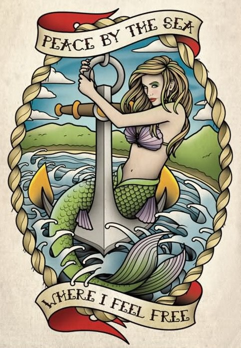 Multicolor sailor mermaid and anchor in rope frame with banners tattoo design