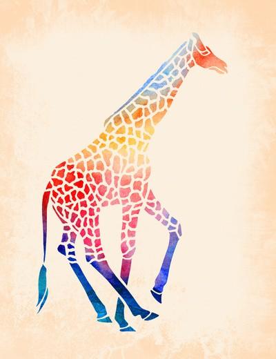 Multicolor spotted giraffe tattoo design