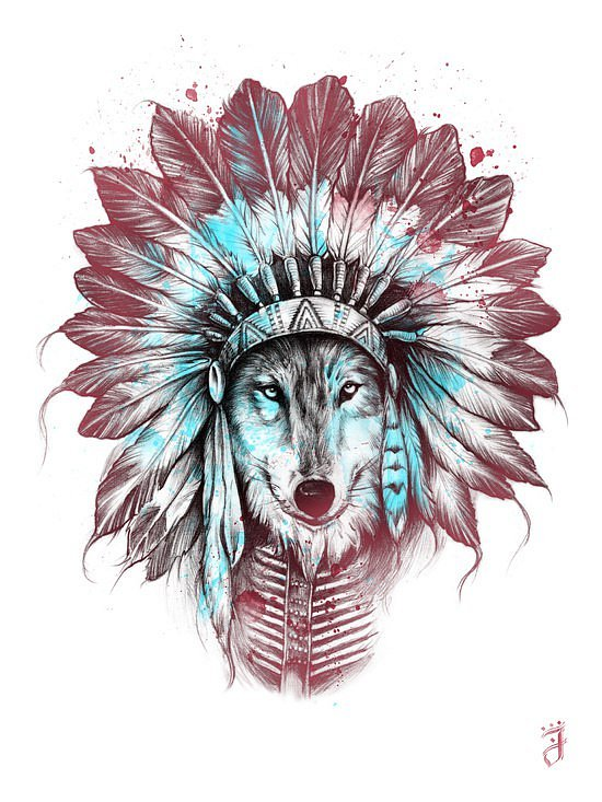 Multicolor Wolf In Indian Featered Hat Tattoo Design Tattooimagesbiz