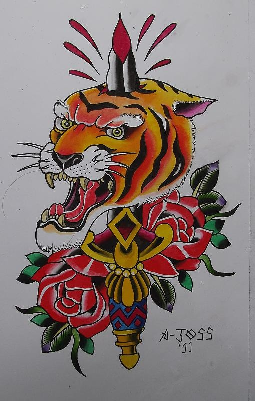 Multocolor Old School Tiger Killed With Sharp Knife And Roses Tattoo