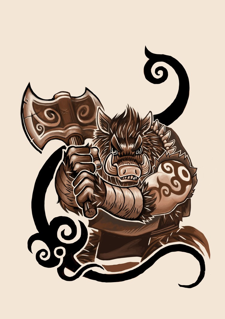 Muscular brown pig warrior with tribal black elements tattoo design by K Hots