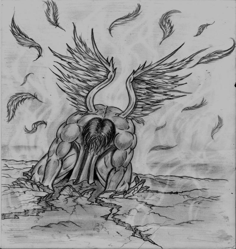 Muscular fallen male angel tattoo design by Shadow3217
