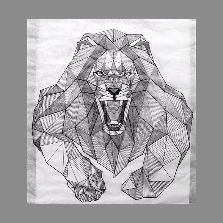 Muscular grey geometric lion tattoo design