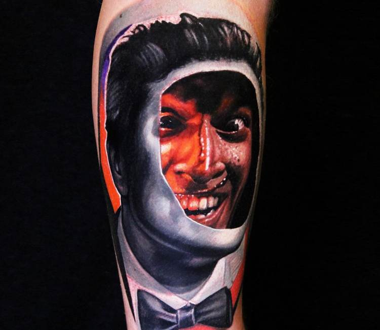 Mysterious face tattoo for men by Dave Paulo