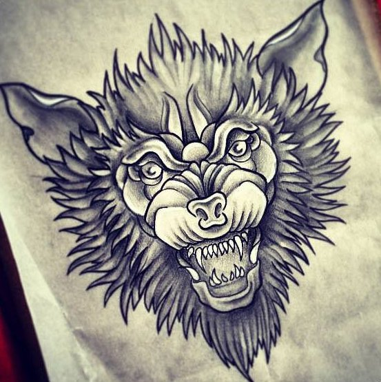 62af665f83208 Mystic black-pencil wolf head tattoo design - Tattooimages.biz