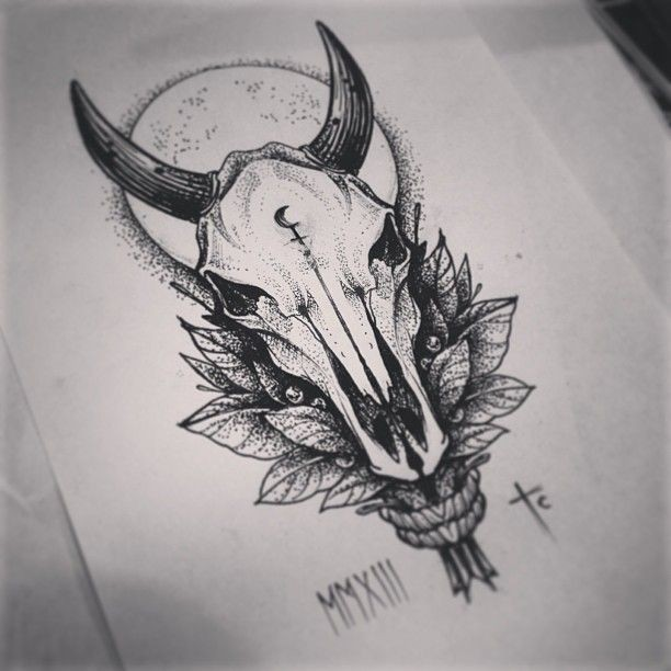 Mystic grey-ink bull skull with leaves on full moon background tattoo design