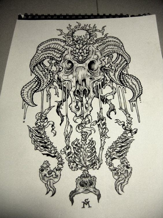Mystic grey-ink ram skull with hanging human skeletons tattoo design