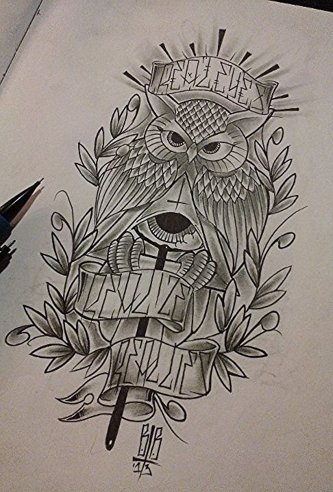 Mystic grey owl with sacred elements and quoted ribbon tattoo design