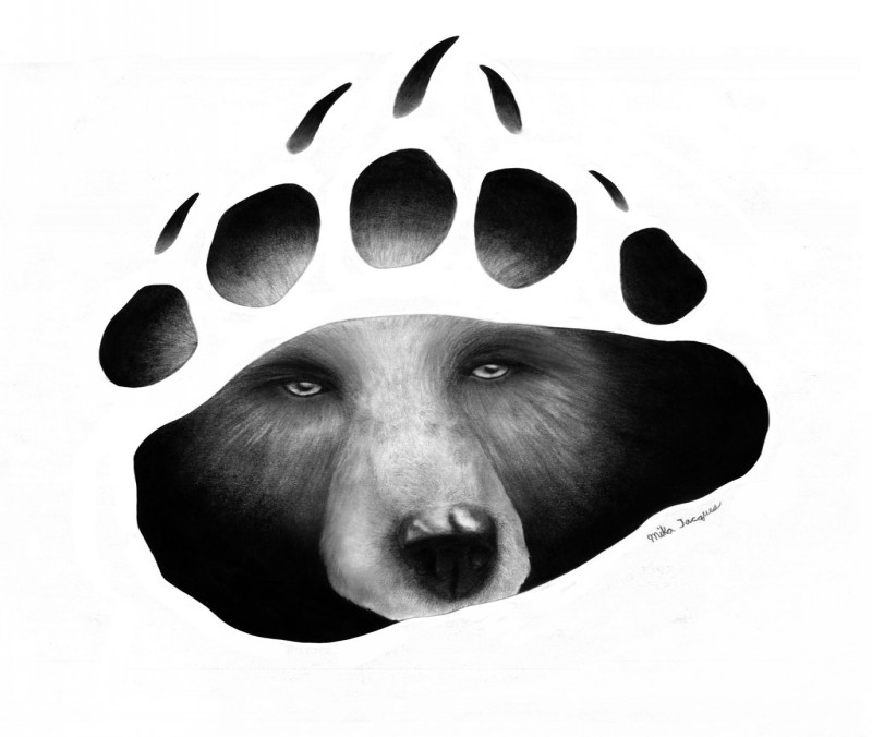 Mystic grizzly bear face in paw trace tattoo design by Mika 525