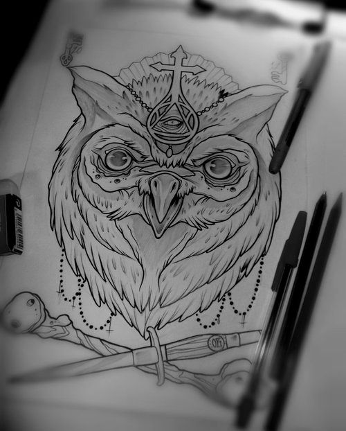 Mystic uncolored owl with crossed bone and dagger tattoo design