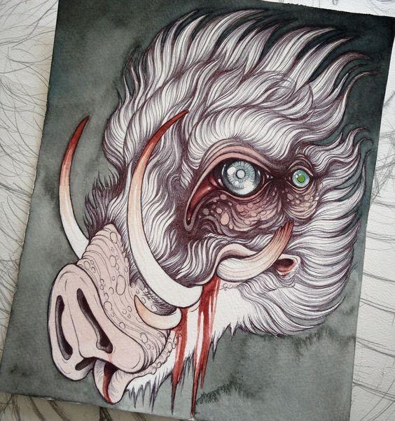Mystic white fluffy many-eyed wild pig head tattoo design