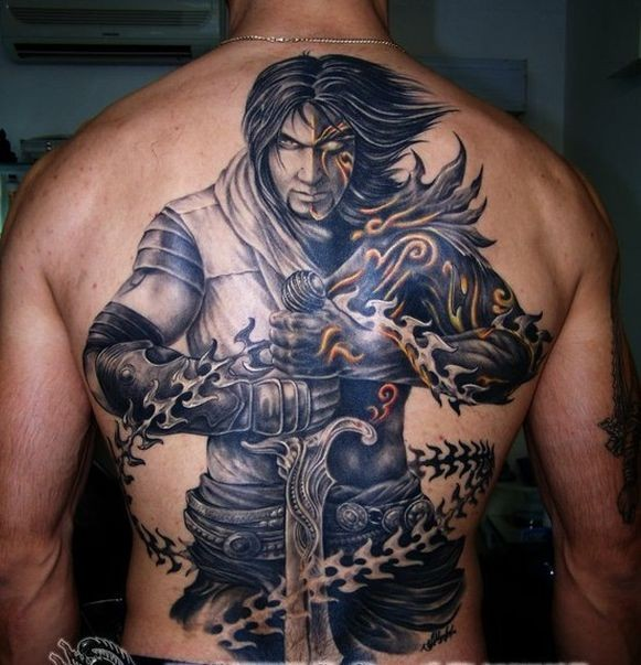Mystical knight with a sword and chains tattoo on back