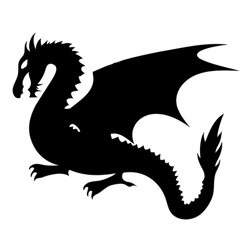 Mythical black-ink dragon silhouette tattoo design