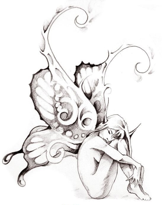 Naked sitting fairy with sharp eart and giant curled butterfly wings tattoo design