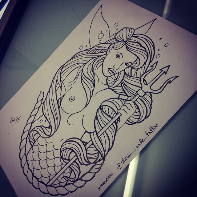Naked uncolored mermaid with a big trident and rope tattoo design