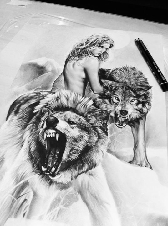 Wolf and naked woman