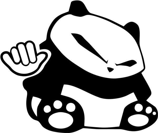 Nasty animated panda bear with chinese eyes tattoo design