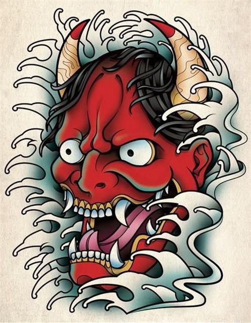 Nasty red-skin devil head in high waves tattoo design